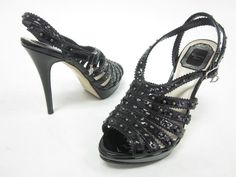 CHRISTIAN DIOR Black Patent Leather Studded Slingbacks Pumps Sz 37.5 7.5 at www.ShopLindasStuff.com