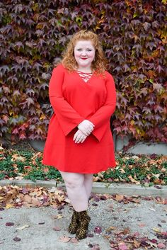 "For Part II of my holiday dress feature with Avenue, I'm spotlighting the feisty and fierce ""little red dress"", or LRD. It's spicy, sassy, and sizzling hot! #avenue #aveplus #avenueplus #littlereddress #reddress #plussizefashion #plussizestyle #holidayoutfit #holidaystyle #ootd #psootd #outfit"