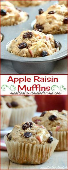 Apple Raisin Muffins -- An easy recipe for breakfast muffins that uses Raisin Bran cereal. Makes a great snack too!