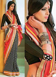 Black Cotton and Art Silk Half and Half Saree with Prints