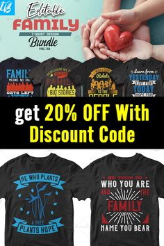 This bundle contains 50 premium designs in vector format that are perfect for t-shirts, hoodies, mugs, and flyers too. With completely editable and pixel perfect vector files you can adapt these t-shirt designs to any size.  If you are looking for some cool t-shirt designs for your new project, this t-shirt design bundle is for you! #familytees #familytshirts #editabletshirts #familyreuniontees #ads T Shirt Design Template, Family Tees, 50 And Fabulous, Vector Format, Flyers, Design Bundles, Cool T Shirts, Funny Tshirts, Shirt Designs