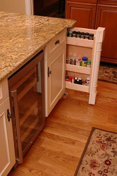 Kitchen Interior Remodeling Remodeled kitchen with spice storage drawer by Neal's Design Remodel. - Make life in the kitchen easier and more enjoyable with these kitchen cabinet storage accessories. Functional Kitchen Design, Kitchen Remodel, Kitchen Design, Kitchen Spice Storage, Kitchen Cabinet Trends, Storage Cabinets, Kitchen Interior, Kitchen Cabinet Storage, Kitchen Cabinets