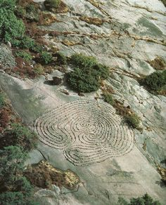 Ancient rock carved labyrinth