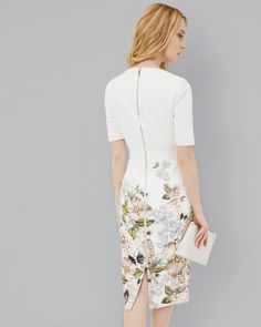 Gem Gardens bodycon dress - Ivory | Dresses | Ted Baker UK