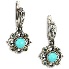 Konstantino Hermione Turquoise, London Blue Topaz, 18K Yellow Gold &... ($645) ❤ liked on Polyvore featuring jewelry, earrings, apparel & accessories, 18 karat gold jewelry, 18k gold earrings, 18 karat gold earrings, turquoise gold earrings and sterling silver jewelry