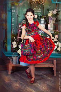 """Dress for girl / Одежда для девочек, ручной работы. Ярмарка Мастеров - ручная работа. Купить Платье детское в русском народном стиле, яркое - красное """"Злата"""". Handmade."""