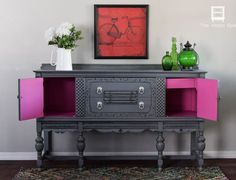 Done the hard way with latex paint but it's beautiful. To get this look with Heirloom Traditions Paint you would use our Black Bean paint, then white wax, and seal with Crystal Clear Patina. Save 10% now by using code DSD at www.heirloomtraditionspaints.com at checkout. #DIY #furniture #upcycle #buffet #DSDecor…