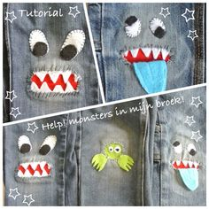 Tutorial Monster in meiner Hose . Diy Clothing, Sewing Clothes, Sewing For Kids, Baby Sewing, How To Patch Jeans, Sewing Crafts, Sewing Projects, Jean Crafts, Denim Ideas