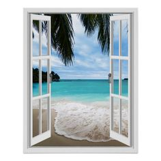 Shop Tropical Sea And Beach Window View Poster created by fauxwindowscenes. Blue Sky Clouds, White Clouds, 3d Wall Art, Beach Wall Art, Window Poster, Beach Posters, Wall Posters, Faux Window, Unique Poster