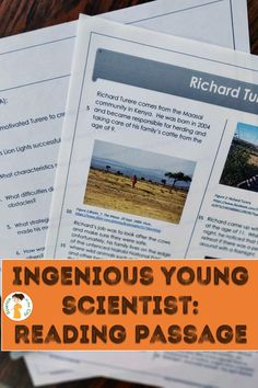 This DIFFERENTIATED reading passage will help your students view themselves as scientists and improve reading comprehension as they learn about a teen from Africa who solved a problem for his family with an innovative invention, demonstrated growth mindset and made a difference in his community. Earth Science Activities, Science Resources, Science Lessons, Teaching Science, Teaching Ideas, Secondary School Science, Middle School Science, Improve Reading Comprehension, Biology Classroom