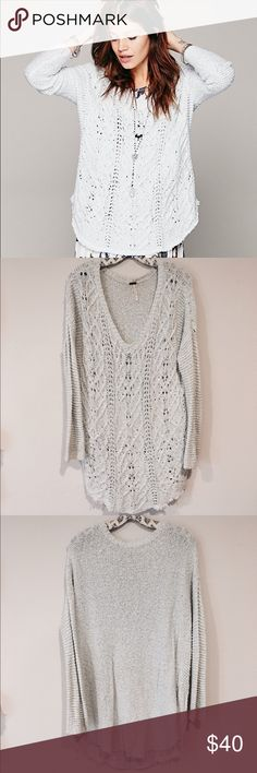 """Free People Cross My Heart Vneck Knit Sweater Cable knit """"V""""-neck pullover sweater with hi-low hem. Bottom hem shows some gently fraying.sleeves are more of a ribbed knit.Super soft & cozy. 100% Cotton. Free People Sweaters V-Necks"""