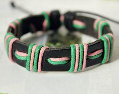 Stylish Soft Black Leather cuff Multicolor Cotton by Colourfashion, $3.50