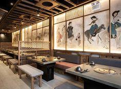 Hotpot Restaurant, Asia Restaurant, Korean Bbq Restaurant, Japanese Restaurant Interior, Small Restaurant Design, Cool Restaurant, Restaurant Lighting, Japanese Interior, Restaurant Interior Design