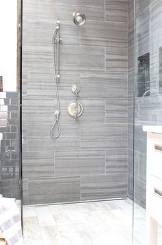 Bathroom Ideas Gray tile & gray tile floor - color idea - like the whtie tiles in
