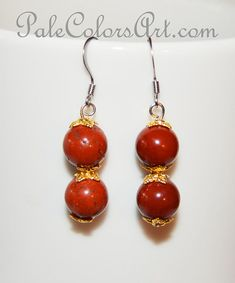 Red Jasper 10mm Stone Earrings,Jasper Earrings,Red Jasper Stone Earrings,Stainless Steel Non-Tarnish Ear Wires,Red Stone Gold Bead Caps