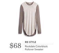 Stitch Fix November 2016 - RD Style, Rockdale Colorblock Pullover Sweater, would be a cute casual look paired with a vest, earth tones
