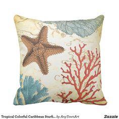 Tropical Colourful Caribbean Starfish and Coral Throw Cushions