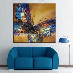 Hecho a mano Adorable Mariposa Azul Arte Abstracto Pintura Al Óleo Sobre Lienzo Pinturas de Animales Para Living Room Decor