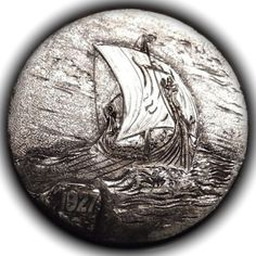 TOM MAHER HOBO NICKEL - VIKING BOAT #2 - 1927 BUFFALO NICKEL Us Coins, Rare Coins, Hobo Nickel, Coin Collecting, Postage Stamps, Art Forms, Paper Cutting, Sailing Ships, Sculpture Art