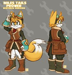 WISTERIAN TAILSAn alternate redesign of Tails. His head and sleeveless aviator style jacket went through a few changes compared to the w.p version, especially the back view. Sonic The Hedgehog, Silver The Hedgehog, Shadow The Hedgehog, Sonic Team, Game Sonic, Sonic Fan Characters, Nintendo Characters, Character Art, Character Design