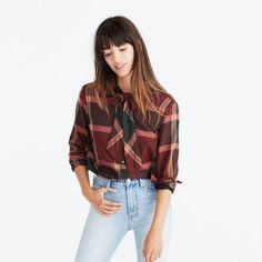 Plaid Tie-Neck Shirt