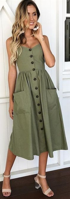 daily dress me Olive Button Down Fit-and-flare Daily Dresses Trendy Dresses, Casual Dresses, Casual Outfits, Fashion Dresses, Summer Dresses, Dresses Dresses, Casual Shoes, Casual Hair, Fashion Clothes