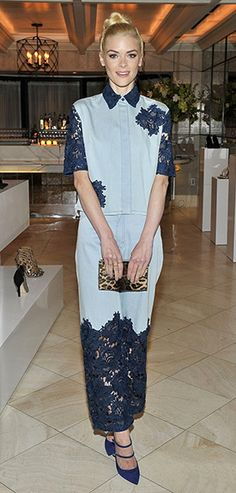Jaime King at a Nicholas Kirkwood dinner in Bel-Air, CA (March 27, 2014). She´s wearing a Lace-insert denim shirt with matching trousers from House of Holland. #jamieking #style