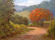ALEKSANDRA MAKOVSKAJA - Estrada na floresta  - Óleo sobre tela - 24 x 19       WALDIR FERRAZ DE CAMARGO - Flamboyant  - Óleo sobre tela -...