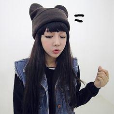 7829c5af6da female demon cat ear angle. Female DemonsKorean WinterKnitting WoolCat ...