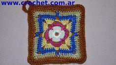 Agarradera Cuadrada en tejido crochet tutorial paso a paso.