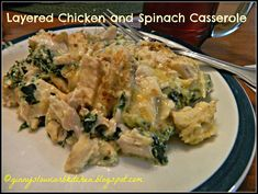 Ginny's Low Carb Kitchen: LAYERED CHICKEN AND SPINACH CASSEROLE - Yummy comfort food!  Visit us at: https://www.facebook.com/LowCarbingAmongFriends