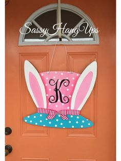 Easter Wreath, Easter Door Hanger, Easter Decorations, Bunny Door Hanger, Easter Wreaths, Rabbit Door Hanger, Easter, Easter door decor by SassyHangUps on Etsy https://www.etsy.com/listing/577019930/easter-wreath-easter-door-hanger-easter