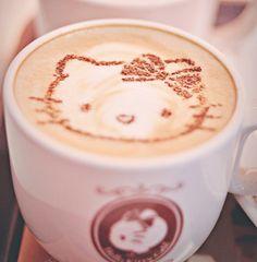 Latte art @Heather Creswell Creswell Gennarelli it's Hello Kitty!