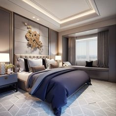 Top 12 Enchanting Luxury Bedroom Design Ideas For A More Perfect Sleep A bedroom is a place that really needs attention to anyone. Not just as a place to sleep, the bedroom is a space for all privacy. A lifetime, more tha. Luxury Bedroom Design, Master Bedroom Design, Home Bedroom, Bedroom Decor, Interior Design, Bedroom Designs, Bedroom Ideas, Luxury Master Bedroom, Bedroom Inspo