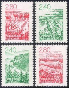 France-1995-Landscapes-Cattle-Trees-Forest-Coast-Animals-Nature-4v-set-n43230