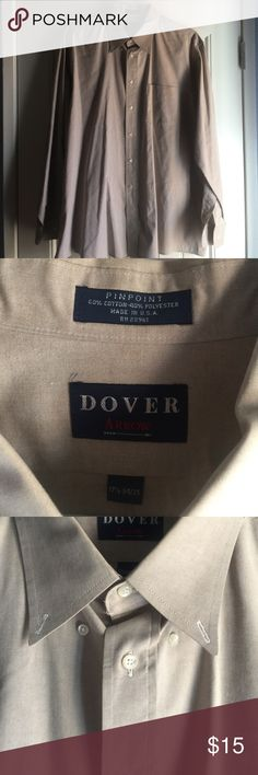 Men's Dover Arrow dress shirt Men's Dover Arrow long sleeve dress shirt made in the USA. Size 17 1/2 34/35. 60% cotton and 40% polyester. Excellent used condition. Dover Arrow Shirts Dress Shirts