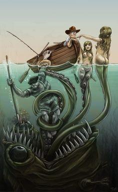 600x978, 107 Kb / лодка, осьминог, монстр, русалки, ловушка, трап, моряк