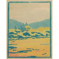 """Eliza Draper Gardiner: Woodblock, colorful landscape with body of water and mountains, signed, numbered, matted, in an Arts & Crafts oak frame, 8"""" x 10.5"""", beautifully framed"""