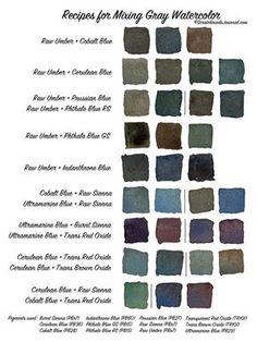 Gray watercolor mixing chart printable plus how to mix a go Watercolor Mixing, Watercolor Tips, Watercolour Tutorials, Watercolor Techniques, Watercolour Painting, Painting Techniques, Painting & Drawing, Watercolours, Painting Flowers