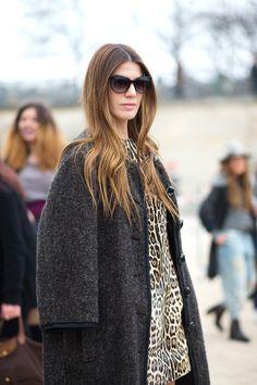 Bianca Brandolini d'Adda in a brown coat + leopard-print dress