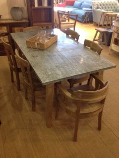 Large Daddy Zinc Top Oak Dining Table With Oak Frame | EBay