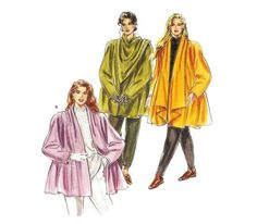 Burda 5016 Flared Swing Coats with Collar by patternscentral Coat Pattern Sewing, Jacket Pattern, Vintage Sewing Patterns, Waterfall Jacket, Metal T Shirts, Swing Coats, Work Fashion, 90s Fashion, Fleece Fabric