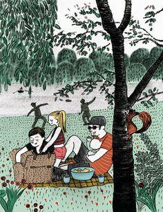 family picnic near the lake #ilustration #pencil  #textures #scene #digitalcolor #springtime #story #family #picnic #lake #squirrel #park Family Picnic, Spring Time, Squirrel, Pencil, Snoopy, Scene, Graphic Design, Texture, Park