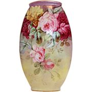 """MUSEUM QUALITY VERY RARE Large  WG&Co. Limoges VASE ~  """"BREATHTAKING ROSES"""" ~1891 to"""