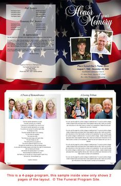 Funeral Booklets Military Or Patriotic Us Flag Large Tabloid