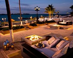 Fire pits with cozy seating for two at the Sandals Royal Bahamian on Nassau. Very romantic!  ASPEN CREEK TRAVEL - karen@aspencreektravel.com
