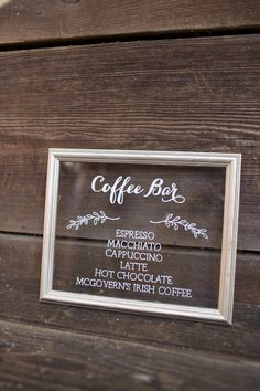 "Coffee bar sign on silver 7.5x9.5"" framed glass, set of 7"