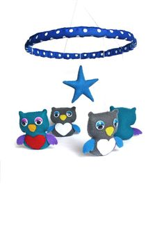 Baby Crib Mobile Owls Felt Baby Gift Shower Handmade Toys Nursery Home Decor Birds Hanging Mobile Star Fancy Creative Decor Love Heart
