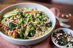 Grilled Broccoli & Miso Noodle Salad — Farm to Fork Fresh Ricotta Recipe, Ella Vegan, Salad Recipes, Vegan Recipes, Grilled Broccoli, Thai Chicken Salad, Noodle Salad, Rice Vinegar, Fork