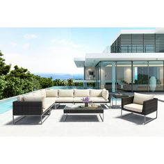 ZUO Malibu Aluminum Corner Outdoor Sectional Chair with Beige Cushion